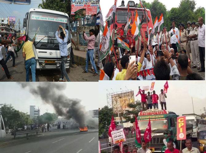 कांग्रेस के भारत बंद में कई जगह समर्थकों का उत्पाद