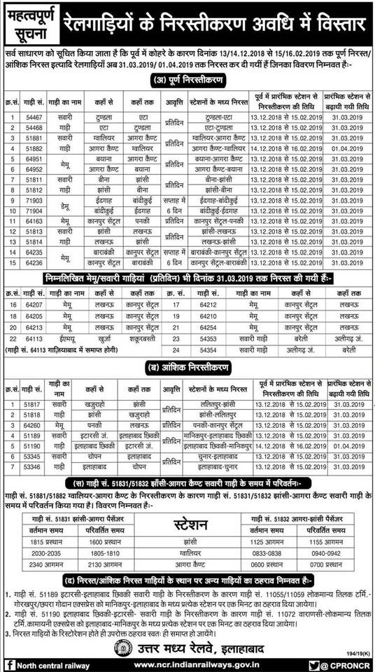 अब 31 मार्च 2019 तक रद्द रहेंगी ट्रेनें