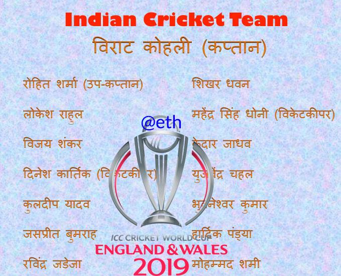 क्रिकेट विश्व कप के लिए भारतीय टीम के एलान